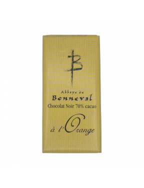 Tablette chocolat noir 70% orange 100g Abbaye de Bonneval